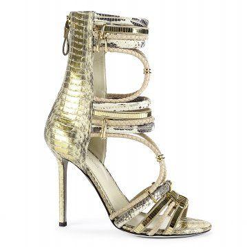 金色蛇纹绑带高跟鞋