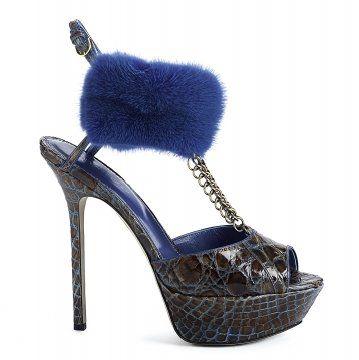 蓝色皮草脚环鱼嘴高跟鞋