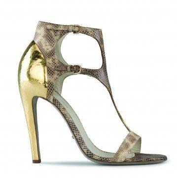 蛇纹T字带金属跟凉鞋