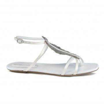 白色水晶树叶凉鞋