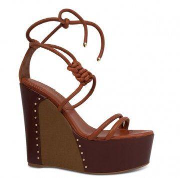 捆绑式坡跟厚底凉鞋