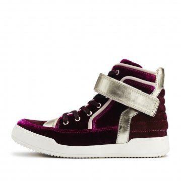 紫红色拼接高帮系带板鞋