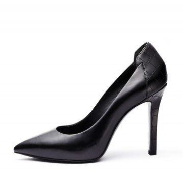 黑色鳄鱼纹拼接高跟鞋