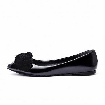 黑色丝绒蝴蝶结平底鞋