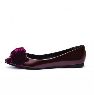 紫红色丝绒蝴蝶结平底鞋