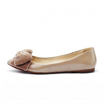 裸色丝绒蝴蝶结平底鞋