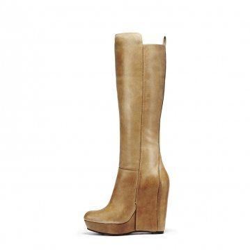 棕色拼接坡跟高筒靴