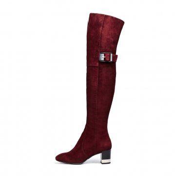 酒红色搭扣粗跟过膝长靴