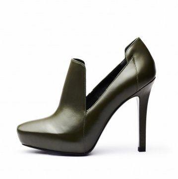 墨绿色复古防水台高跟鞋
