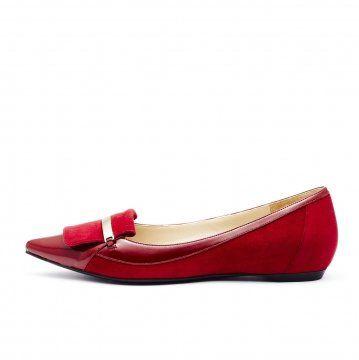 红色麂皮拼接便鞋