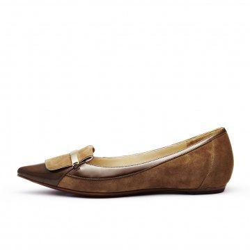 棕色麂皮拼接便鞋