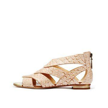 奶油米色皮革平底鞋