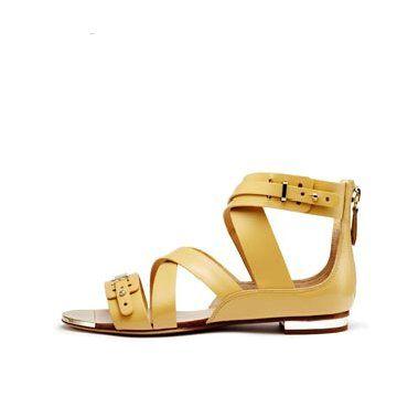 奶油黄色皮革平底鞋