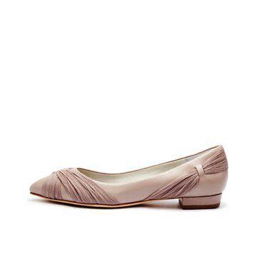 藕色皮革平底鞋