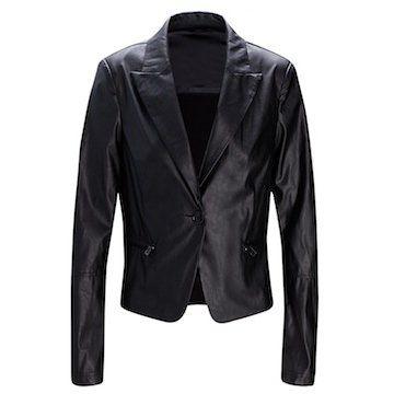 黑色皮质短外套