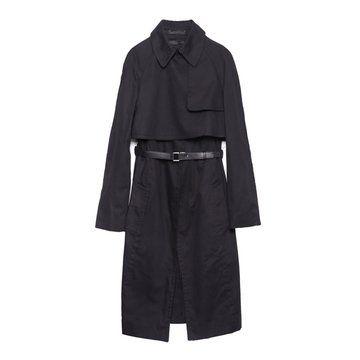 黑色假两件式长款风衣