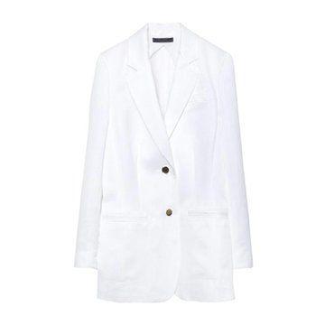 白色中长款西装