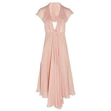 淡粉色真丝连衣裙