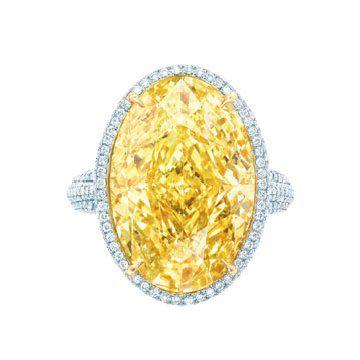 艳彩椭圆黄钻戒指