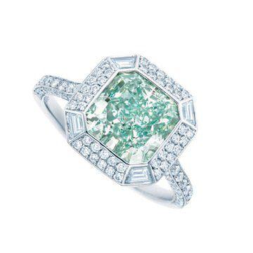 浓彩蓝绿钻戒指