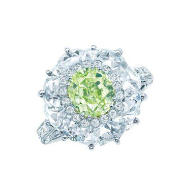 艳彩黄绿钻戒指