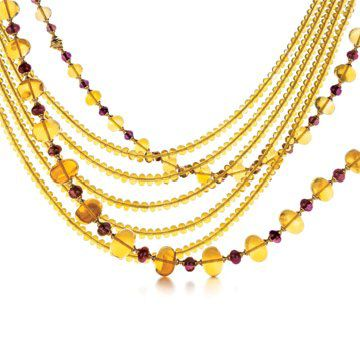 黄水晶项链和镶红碧玺项链