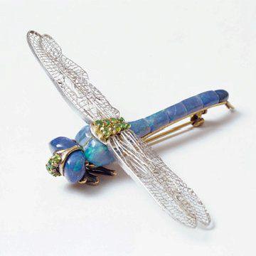 蛋白石蜻蜓胸针