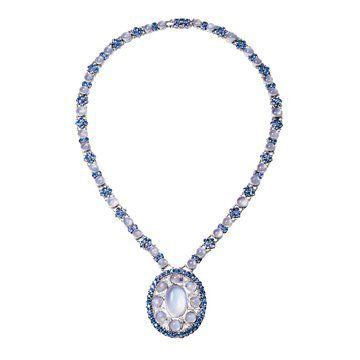 月亮石和蓝宝石项链