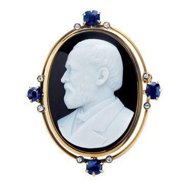 Charles Lewis 浮雕玛瑙贝胸针