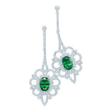 沙弗莱石钻石耳环