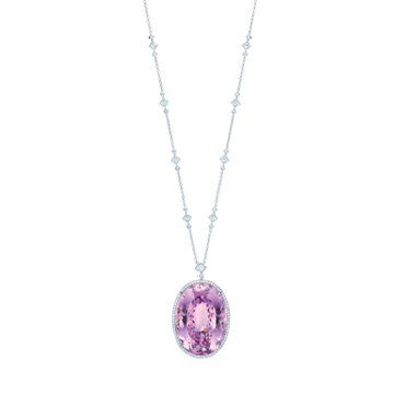 铂金紫锂辉石项链