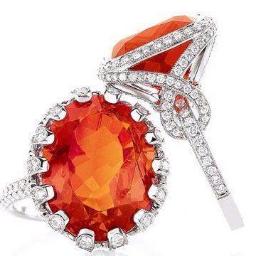 橙色火欧泊戒指