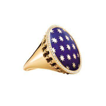 Stella18k金镶钻及蓝色珐琅戒指