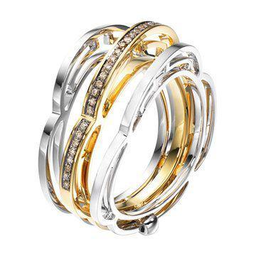 融乐钻饰系列18K黄白色黄金钻石戒指