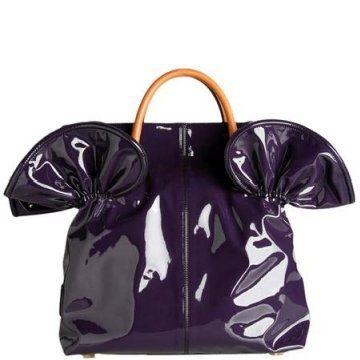 梦幻紫色宫廷卷边漆皮大手袋