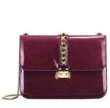 紫红色漆皮链条包