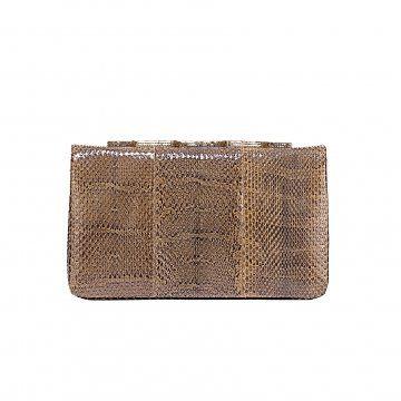 棕色蛇纹手拿包