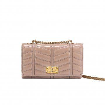 粉色皮质链条包