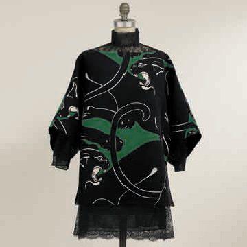 绿色纹样连衣裙