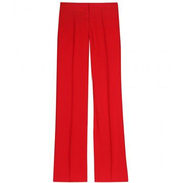 大红色直筒长裤