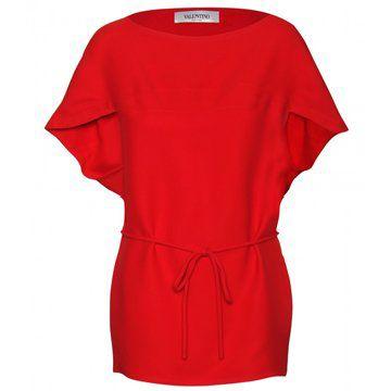 大红色蝙蝠袖收腰系带连衣裙
