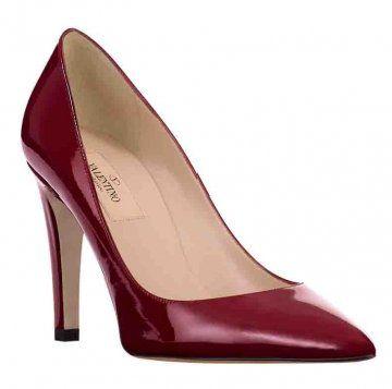 红色漆皮中跟鞋