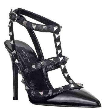 NOIR系列黑色及踝亮面凉鞋