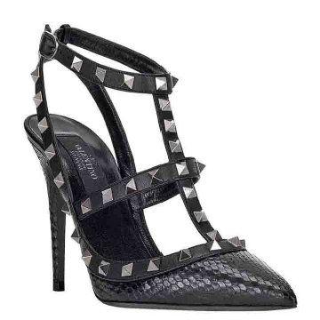 NOIR系列黑色罗马凉鞋