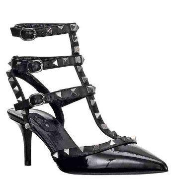 NOIR系列黑色铆钉漆皮凉鞋