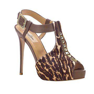 豹纹铆钉鱼嘴鞋