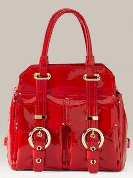 红色漆皮购物包