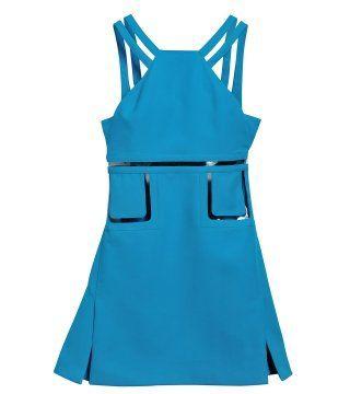 亮蓝色连身裙