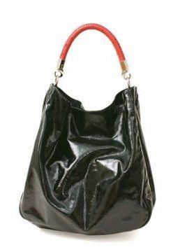 ROADY黑色漆皮包搭配红色鸵鸟皮手柄提包