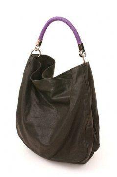 ROADY黑色皮包搭配紫色鸵鸟皮手柄提包